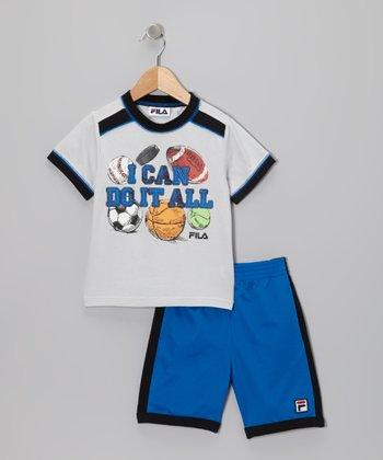 Blue 'I Can Do It All' Tee & Shorts - Toddler & Boys