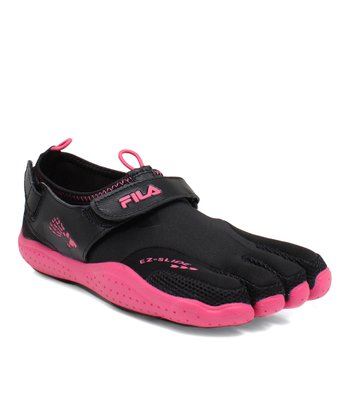 Black & Hot Pink EZ Slide Drainage Shoe - Kids