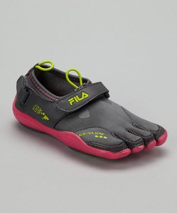 Gray & Pink Skele-Toes EZ Shoe - Kids