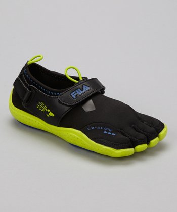 Black & Lime Skele-Toes EZ Shoe - Kids