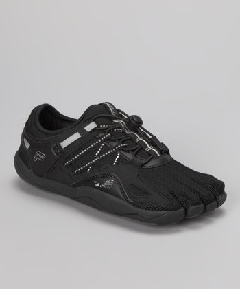 Black & Metallic Silver Skele-Toes Bay Runner Shoe - Kids