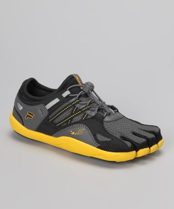 Black & Lemon Skele-Toes Bay Runner Shoe - Kids