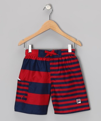 Medieval Blue & Formula One Prep Stripe Boardshorts - Boys
