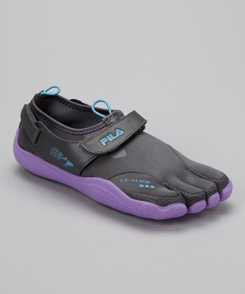 Gray & Purple Skele-Toes EZ Shoe - Women