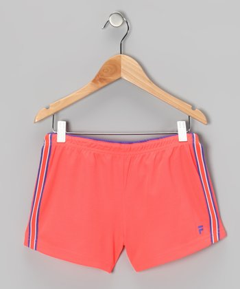 Fiery Coral Mesh Shorts - Girls