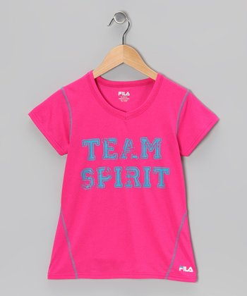 Heather Pink Glow 'Team Spirit' Tee - Girls