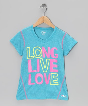 Heather Atomic Blue 'Long Live Love' Tee - Girls