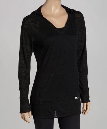 Black Hooded Burnout Tee