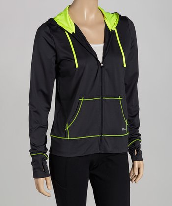 Charcoal Day Glo Zip-Up Hoodie