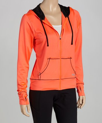 Orange Day Glo Zip-Up Hoodie
