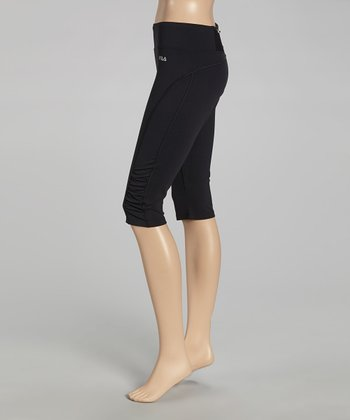 Black Ruched Capri Pants