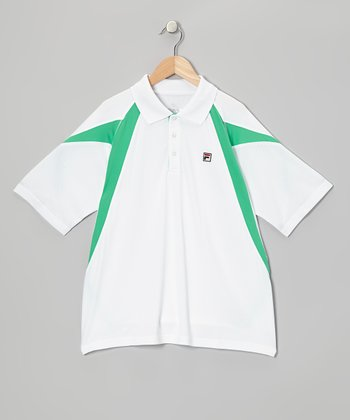 White & Mint Green Polo - Boys