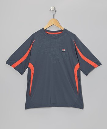 Navy & Red Color Block Tee - Toddler & Boys