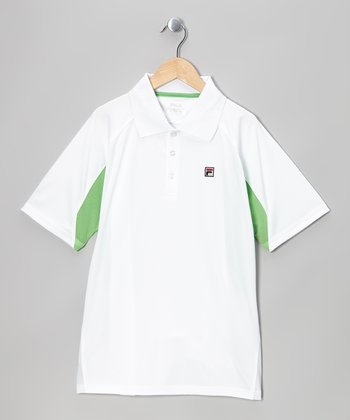 White & Green Color Block Polo - Toddler & Boys
