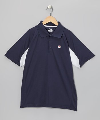 Navy & White Color Block Polo - Toddler & Boys