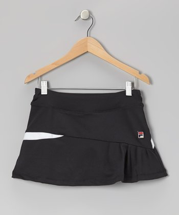 Black Asymmetrical Pleated Skort - Toddler & Girls