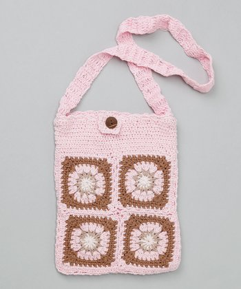 Baby Pink Small Groovy Granny Square Purse