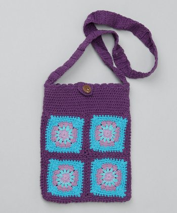 Grape Small Groovy Grandma Square Purse