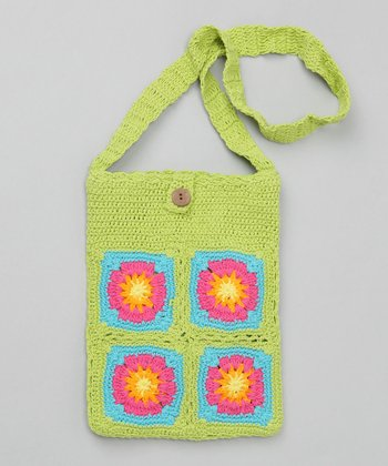 Green Apple Small Groovy Granny Square Purse