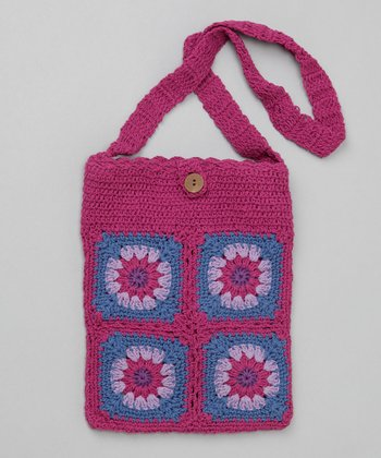 Raspberry Groovy Granny Square Purse