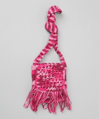 Dark Rose Crochet Flap Fringe Purse