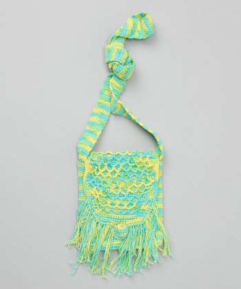 Aqua Crochet Flap Fringe Purse
