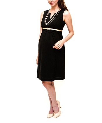 Black Kate Stretch Wool-Blend Belted Maternity Dress