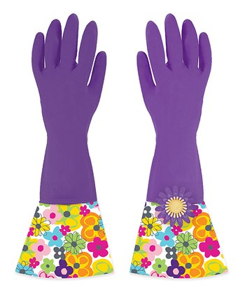 Plum Watercolor Glamour Cuffed Gloves