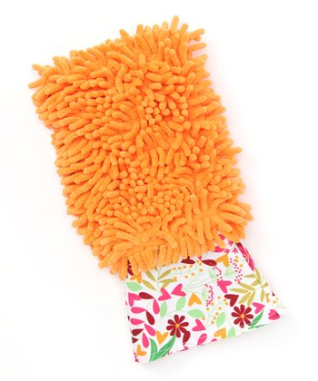 Orange Dusting Diva Floral Microfiber Mitt
