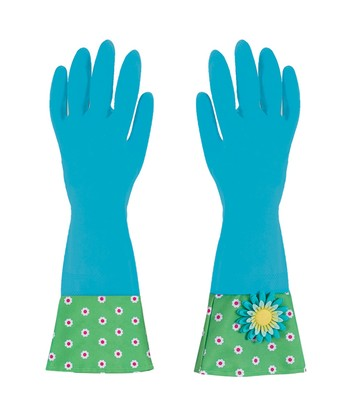 Blue Flower Garden Glamour Gloves