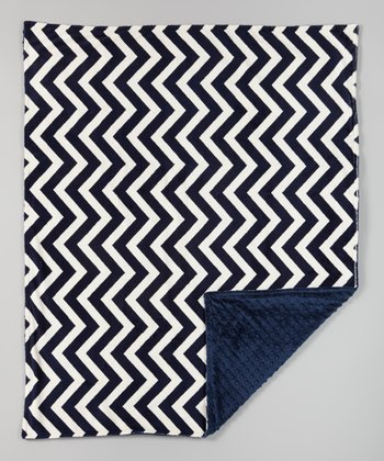 Navy Zigzag Receiving Blanket