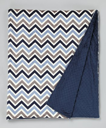 Navy & Gray Zigzag Minky Throw Blanket