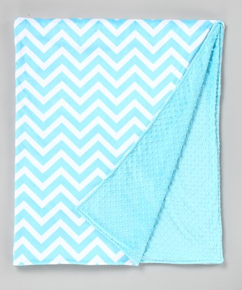 Turquoise Zigzag Minky Throw Blanket