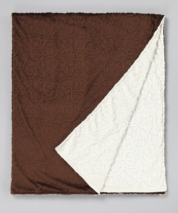 Brown & Ivory Vine Damask Throw