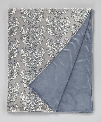 Carbon Solid Damask Throw