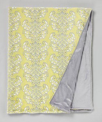 Limon & Silver Solid Damask Throw