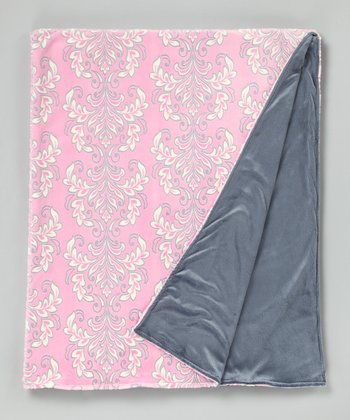 Sofia & Silver Solid Damask Throw