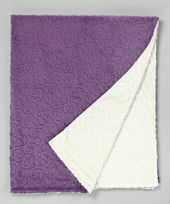 Violet & Ivory Vine Damask Throw
