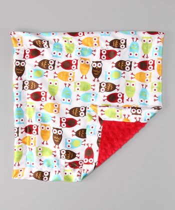 Red Night Owl Minky Security Blanket