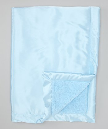 Blue Satin Sherpa Toddler Blanket