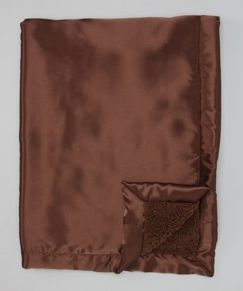 Brown Satin Sherpa Toddler Blanket