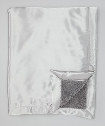 Gray Satin Sherpa Toddler Blanket