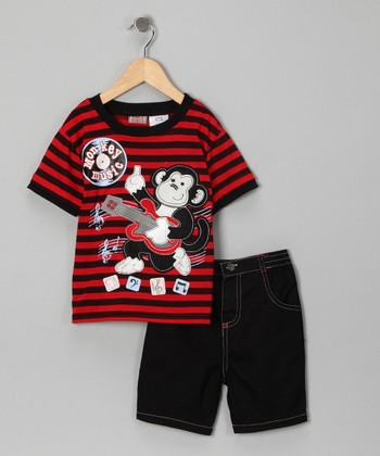 Black & Red Stripe Monkey Tee & Shorts - Toddler