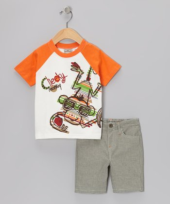 Little Rebels Orange 'Cheeky' Monkey Raglan Tee & Beige Shorts - Infant