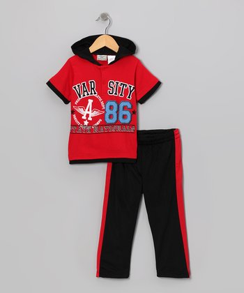 Red 'Varsity' Layered Henley & Track Pants - Toddler