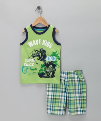 Green 'Wave King' Tank & Plaid Shorts - Toddler