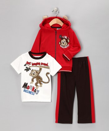 Red Monkey Zip-Up Hoodie Set - Infant