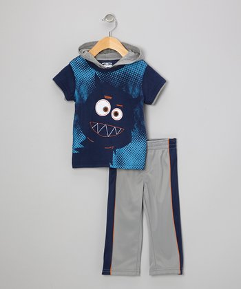 Navy Monster Layered Tee & Pants - Infant & Toddler