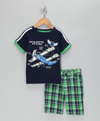 Navy Biplane Layered Tee & Plaid Shorts - Toddler