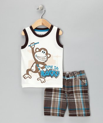 White 'Time to Rock!' Tank & Shorts - Toddler